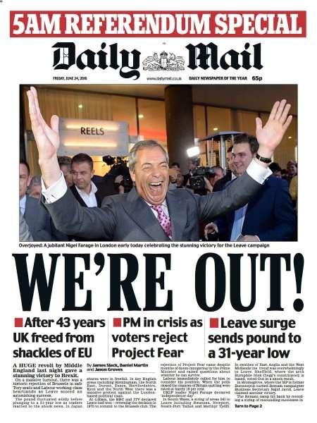 Portada del Daily Mail tras la votación del Brexit
