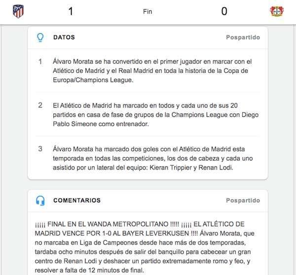 Google cubre al minuto todos los partidos de la Champions League