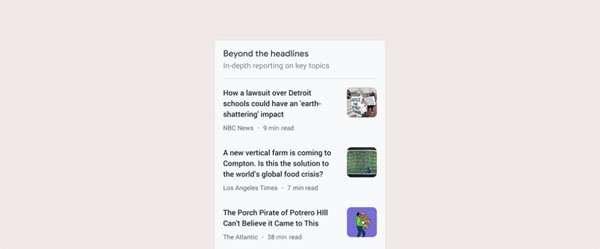 Google activa una portada para destacar noticias de calidad Beyond the Headlines