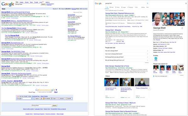 Resultados de búsquedas de Google en 2009 y en 2019