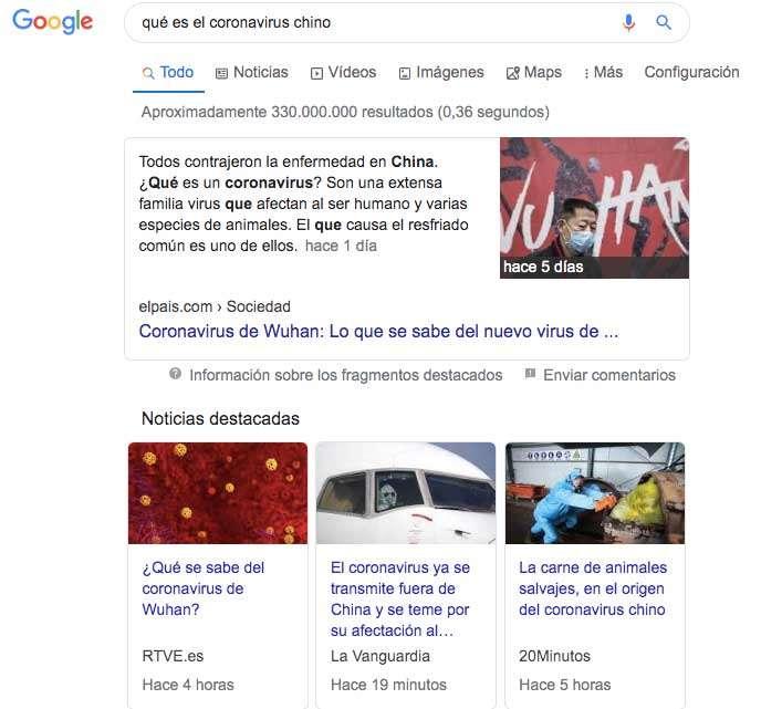 El diario El País sitúa una noticia del coronavirus como fragmento destacado y escala cuatro posiciones respecto a otros medios en el posicionamiento de las búsquedas de Google | ReddePeriodistas.com